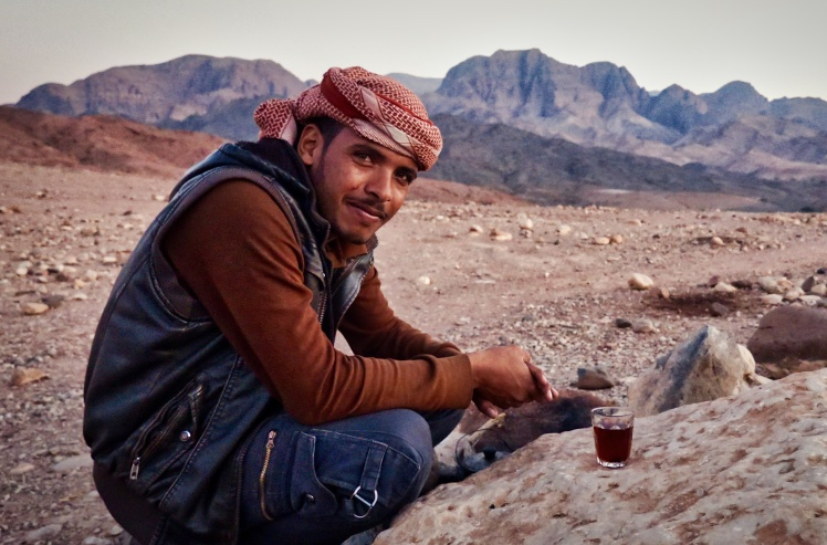 Suleiman the desert philosopher, watching the sunset in Feynan, Jordan